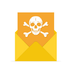 mail spam icon with skull vector image