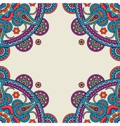 Paisley mandalas hand drawn colored frame vector image vector image