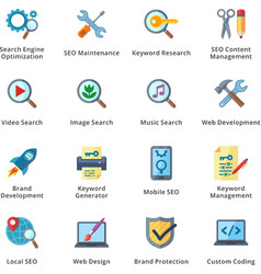 Seo and internet marketing flat icons - set 1 vector