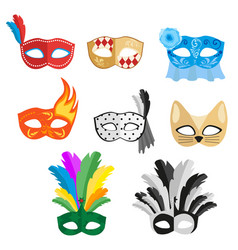 set of multi-colored carnival masks for a festive vector image