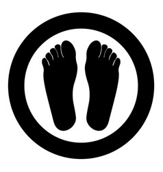 footprint heel the black color icon in circle or vector image