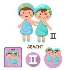 Gemini collection zodiac signs vector