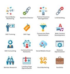 SEO and Internet Marketing Flat Icons - Set 2 vector image vector image