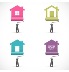 Set of house renovation icons with paint rollers vector image vector image