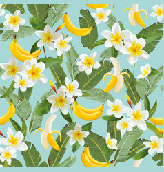 tropical seamless pattern with bananas and palm vector image vector image