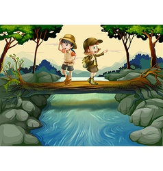 Two kids crossing the river vector image vector image