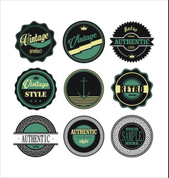 vintage labels black and green set 1 vector image vector image