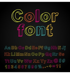 Abstract color hand drawing font vector image