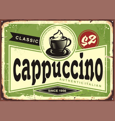 cappuccino vintage cafe sign with coffee cup vector image vector image