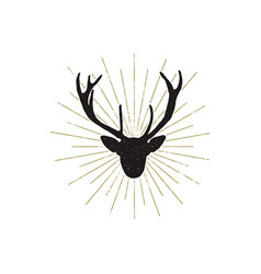 deer shape with sunbursts silhouette animal vector image vector image