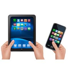 hands holding digital tablet computer vector image vector image