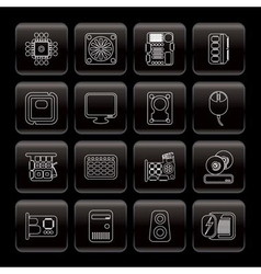 line computer performance and equipment icons vector image vector image