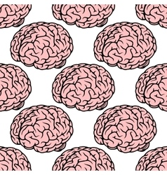 Pink human brain seamless pattern vector image vector image