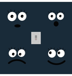 Set of cute funny face emotions and tumbler light vector image
