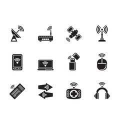 Silhouette Wireless and communication technology vector image vector image
