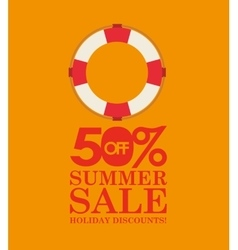 Summer sale 50 discounts with life buoy vector