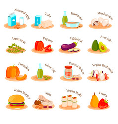 Vegan vegetarian dishes flat icons set vector