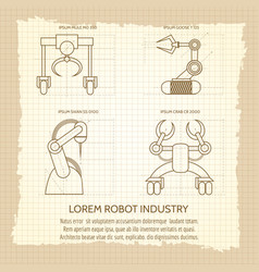 vintage poster of robotic armed machines vector image vector image
