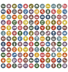 144 icons retro color vector