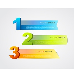 3 horizontal banners with numbers and place for vector