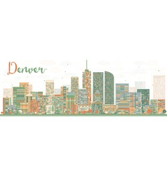 Abstract denver skyline with color buildings vector