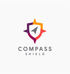 Abstract modern shield and compass logo icon vector
