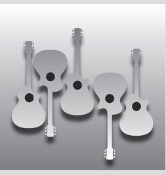 an array of abstract acoustic guitars in light and vector image