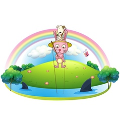 An island with two bunnies fishing vector image