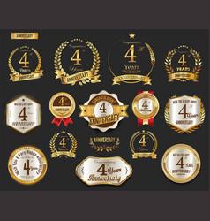 Anniversary golden laurel wreath and badges 4 vector