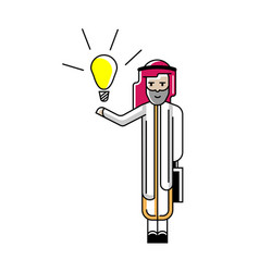 Arabic businessman holding idea light bulb vector
