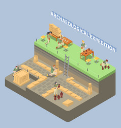Archeology isometric compositon vector