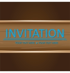 Art brown wooden invitation card vector