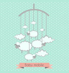 Baby mobile with little lambs and clouds vector