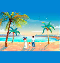 back view a happy family on tropical beach vector image