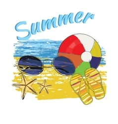 background summer with letteringball sunglasses vector image
