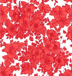 Beautiful seamless pattern of wild scarlet flowers vector image