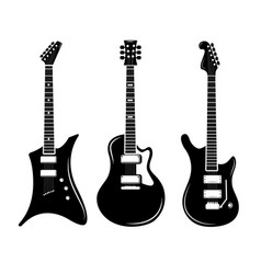 black guitar icons acoustic and electric vector image