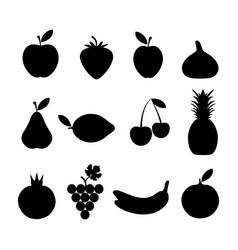 black silhouettes of fruits vector image