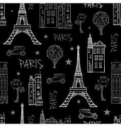 Black White Paris Streets Travel Seamless vector