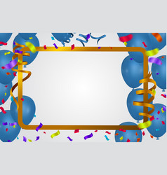blue balloons background sale party banner golden vector image