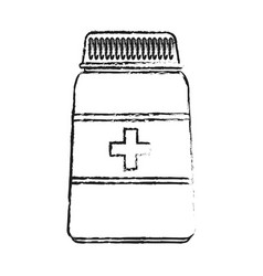 Blurred silhouette image cartoon bottle with pills vector