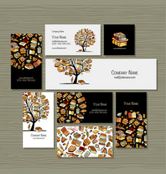 books library business cards design vector image