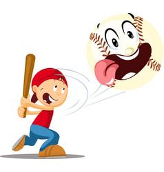 boy bats a baseball - cheerful and funny il vector image