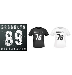 brooklyn numbers stamp and t shirt mockup vector image