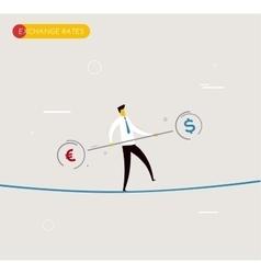 Businessman walking on tightrope balancing vector
