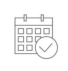 calendar checkmark icon linear icon on white vector image