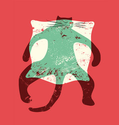 cartoon retro grunge funny cat on pillow vector image