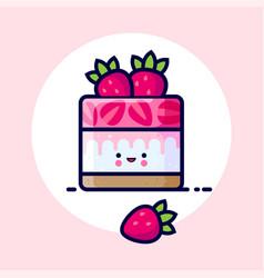 Cheesecake cream jelly strawberry kawaii cake vector