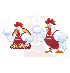 chicken mascot design for restaurant business vector image