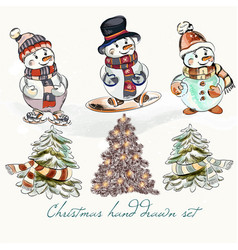 Christmas snowmen set for design vector
